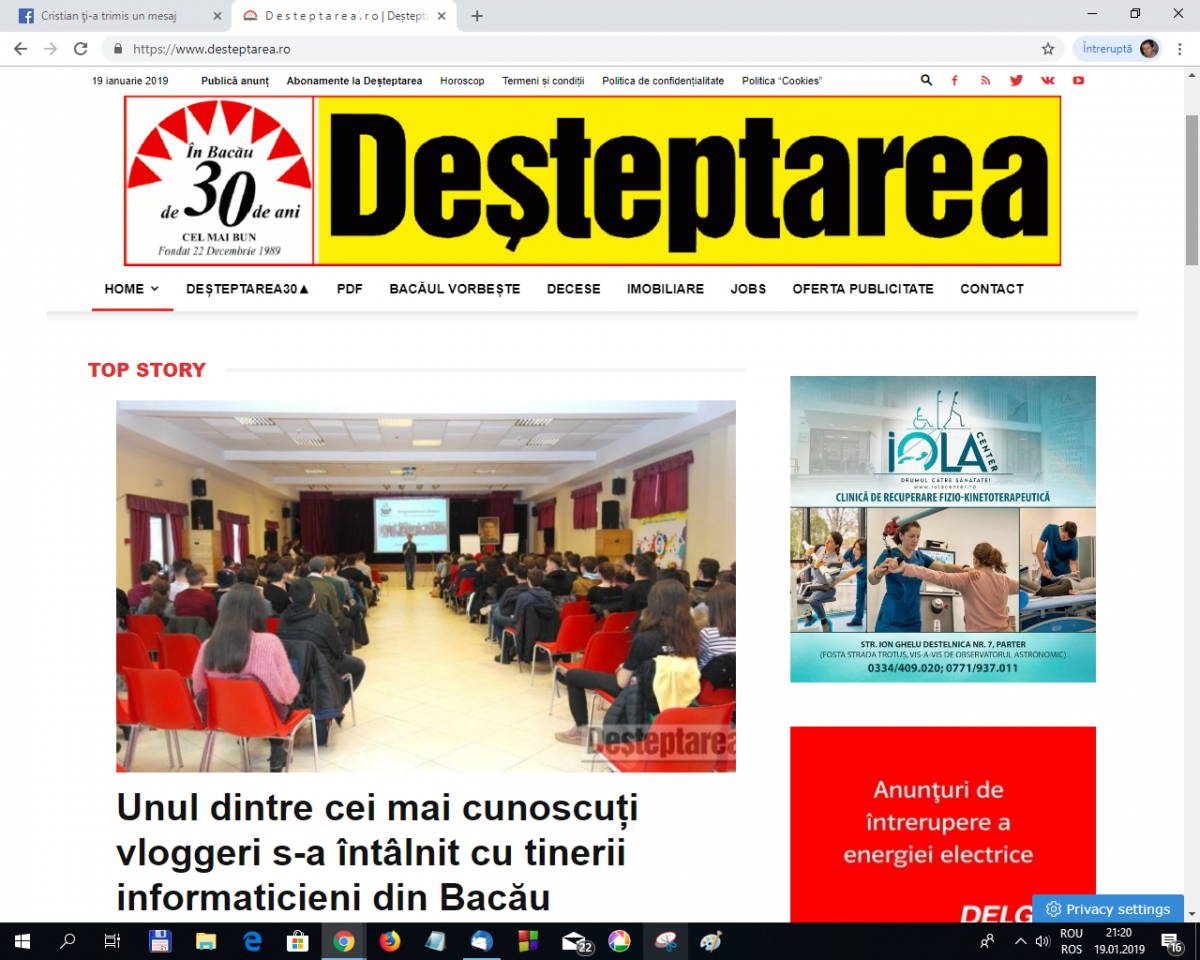 """Vizita lui Cristian Dascălu la Bacău în ziarul local """"Deșteptarea"""""""